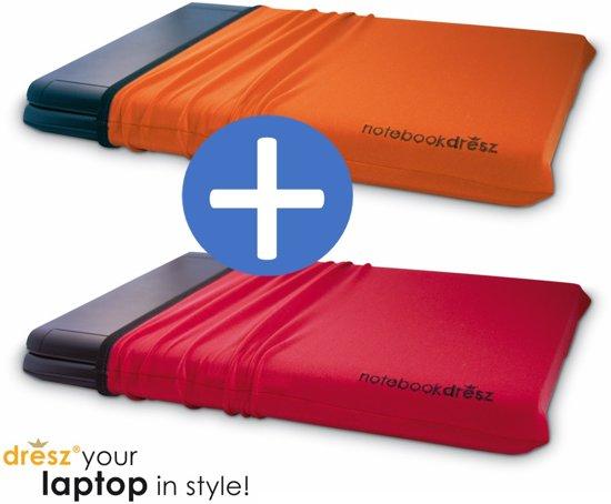 2 rekbare beschermhoezen voor 15.6 inch laptops tablets. Beschermt tegen krassen. DUO-PACK: oranje en rood.