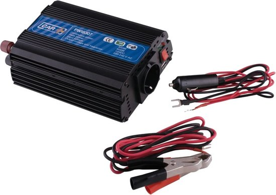 Car Plus Omvormer 12-230v 300 Watt 19 X 13 Cm Zwart