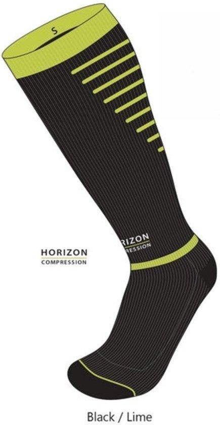 Horizon Sport compressie kousen zwart/groen Medium (39-42) Kuit:35-44cm