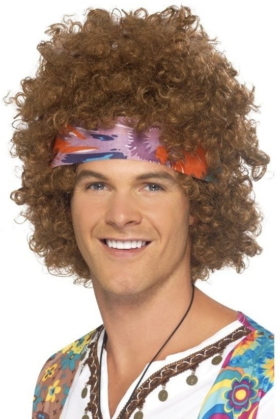 9c7365aab9880d bol.com   Bruine hippie pruik met haarband voor heren, Smiffys ...
