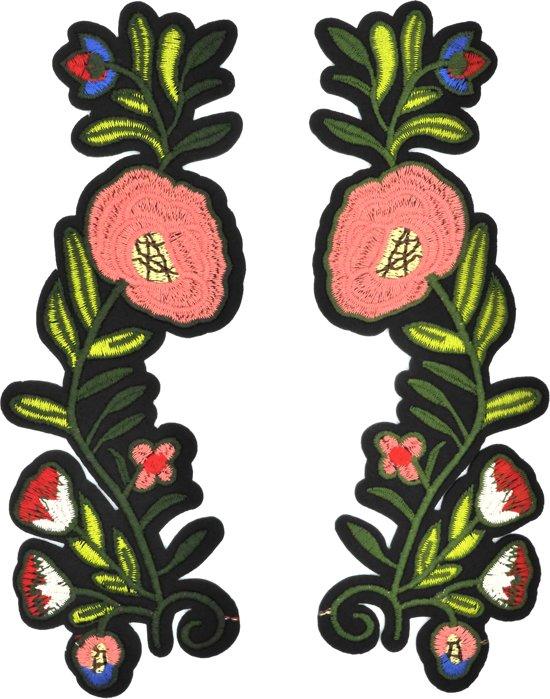 Strijk embleem 'Bloementak lente large patch set (2)' – stof & strijk applicatie