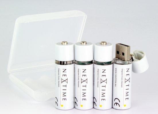 NeXtime USB oplaadbare Batterijen - Set van 4