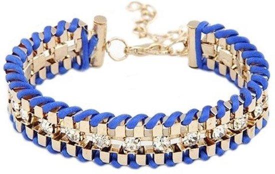 Rope armbandje strass blauw