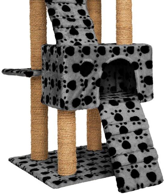 TecTake - krabpaal Goran - 169 cm hoog - grijs met pootafdruk - 402193
