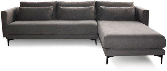 Grijze Hoekbank Stof.4x6 Sofa Hoekbank Landelijk Natuurlijke Materialen Grijs Stof