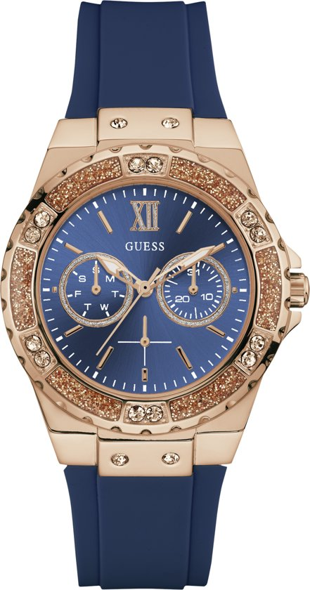 GUESS Watches W1053L1 - Horloge - Dames - siliconen - blauw -  ⌀  38 mm