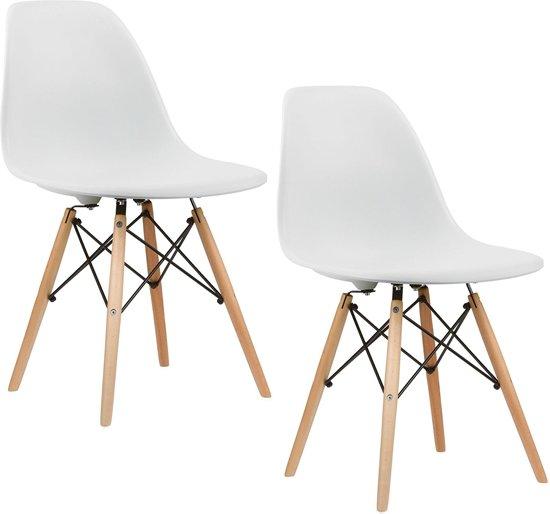 bol.com | Eetkamerstoelen DSW design - Kuip stoel - Set van 2 - Wit