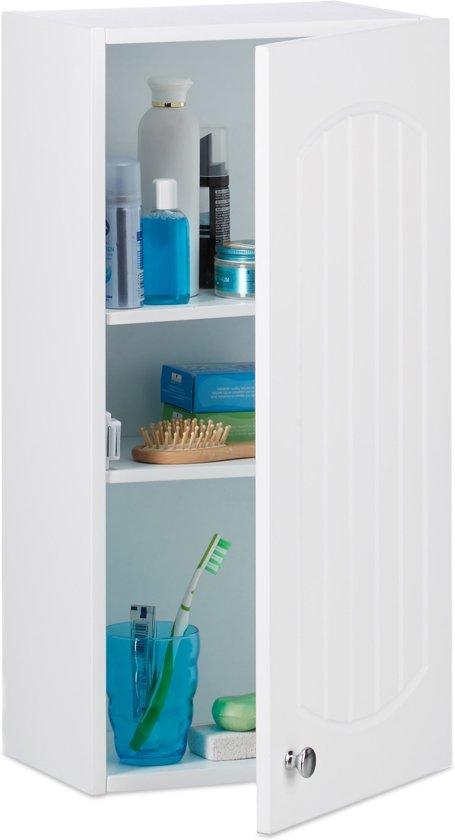Relaxdays Badkamerkast Hangend Hangkast Voor De Badkamer Lamellen Wit Hout