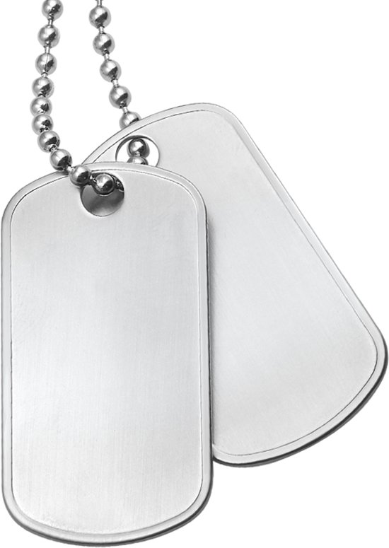 The Jewelry Collection For Men Ketting Met 2 Dogtags Mat - Staal