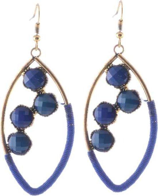 Oorhangers blauw met steentjes