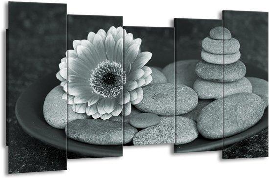 Schilderij | Canvas Schilderij Bloem, Stenen | Grijs, Groen, Zwart | 150x80cm 5Luik | Foto print op Canvas