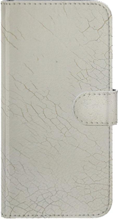 Echt leer Wit met grove krakkelee hoesjes voor uw Apple iPhone XS / X gemaakt in Nederland
