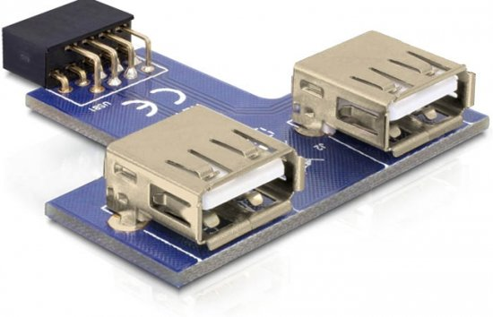 DeLOCK 9-pin 2.54 mm/2 x USB 2.0 1 x 9-pin 2.54 mm 2 x USB 2.0-A Zwart, Blauw, Zilver