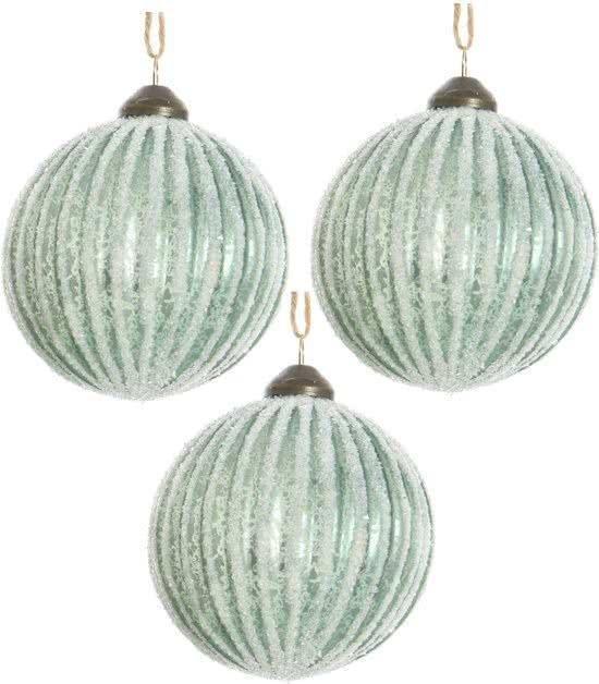 Glas Kerstballen (8cm) Rib Box 3 Stuks Light Green