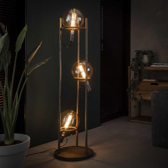 Vloerlamp Mira oud zilver 3-lichts
