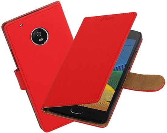 BestCases.nl Motorola Moto G5 Effen booktype hoesje Rood