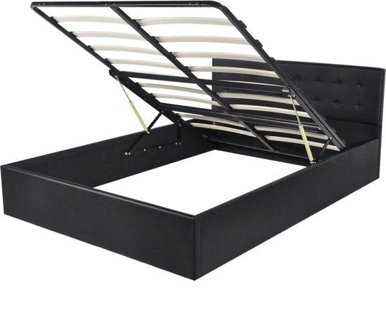 Bed 140 Cm.Vidaxl Bed Met Opslagruimte Hydraulisch 140 Cm Kunstleer Zwart