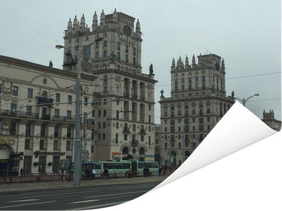 Gotische gebouwen van Minsk in Wit-Rusland Poster 160x120 cm - Foto print op Poster (wanddecoratie woonkamer / slaapkamer) / Europese steden Poster XXL / Groot formaat!