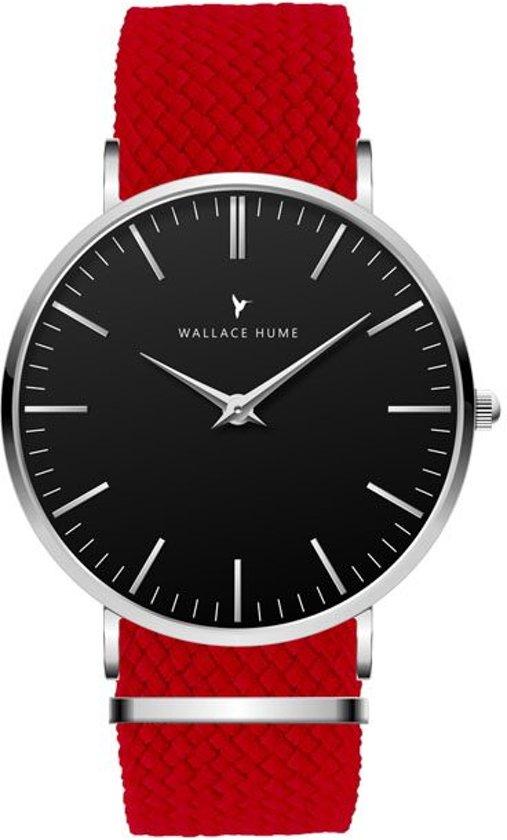 Wallace Hume Zwart - Horloge - Perlon - Rood