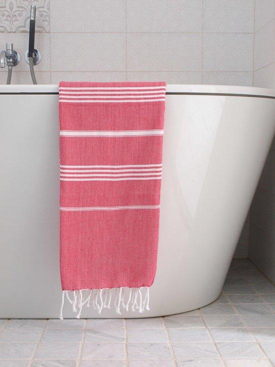 Hamamdoek Robijnrood - Strandlaken - Saunadoek - Saunalaken - Omslagdoek - Stranddoek - Reishanddoek - Plaid - Zwem Handdoek - Sneldrogende Handdoeken - medium 170x100cm