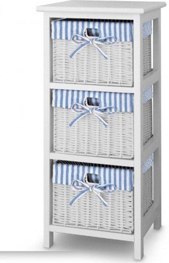 Ladenkast Met Manden.Bol Com Houten Ladenkast Met 3 Wicker Rotan Manden In Blauw Wit