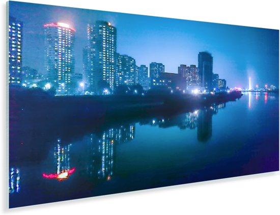 De verlichte hoofdstad Pyongyang tijdens de nacht in Azië Plexiglas 40x20 cm - Foto print op Glas (Plexiglas wanddecoratie)