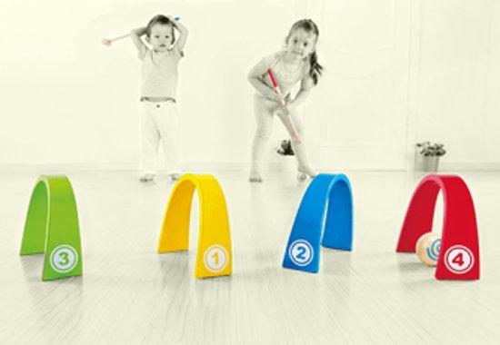 Afbeelding van het spel Hape Houten kleuren croquetspel
