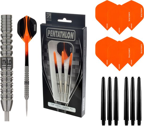 Pentathlon – T3 Oranje 23 gram 90% Tungsten – dartpijlen – inclusief bijpassende – darts shafts – en – darts flights