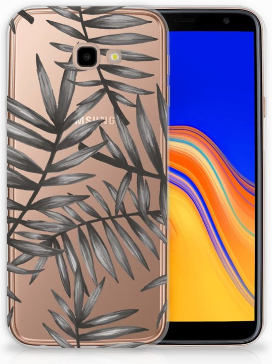 Samsung Galaxy J4 Plus (2018) TPU Siliconen Hoesje Leaves Grey