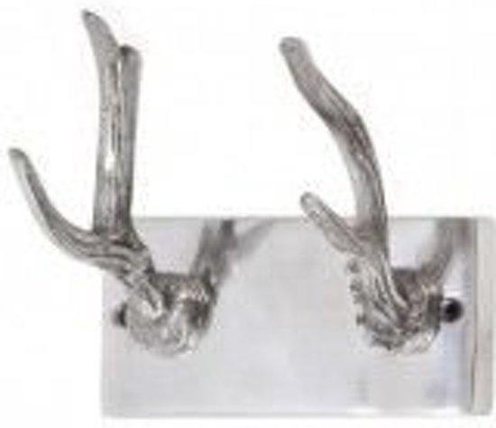 Livlight Gewei Kapstok  - 2 haaks haken Wandkapstok - 17x13cm - Aluminium - Grijs/Zilver