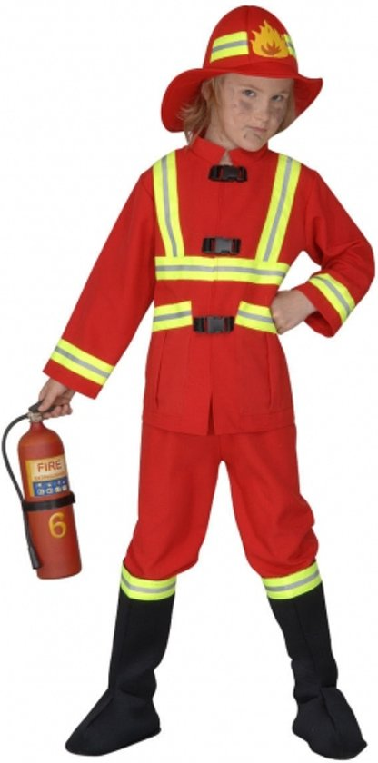 Brandweer kostuum kids rood 140