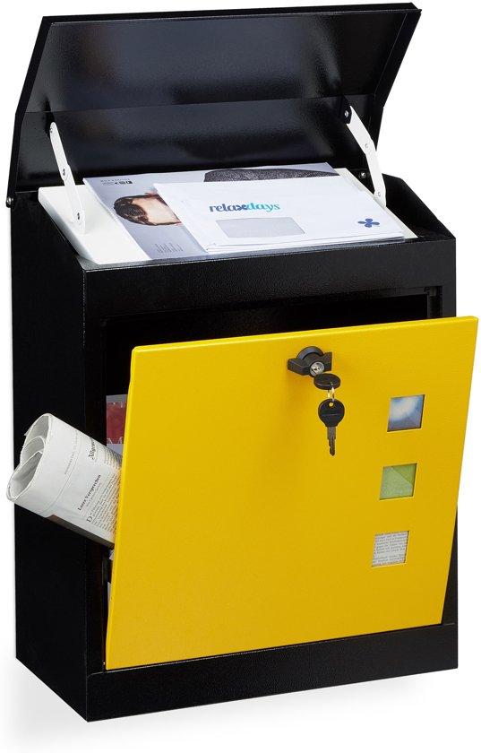 relaxdays brievenbus groot veiligheidsklep muurbrievenbus wandbrievenbus mailbox