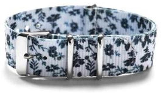 Premium Design Print Bloemen - Nato strap 20mm - Horlogeband Zwart Wit