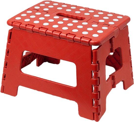 Inklapbaar Krukje- Opstapkruk - Opstapje| Opvouwbaar - 22 cm Kleur: Rood