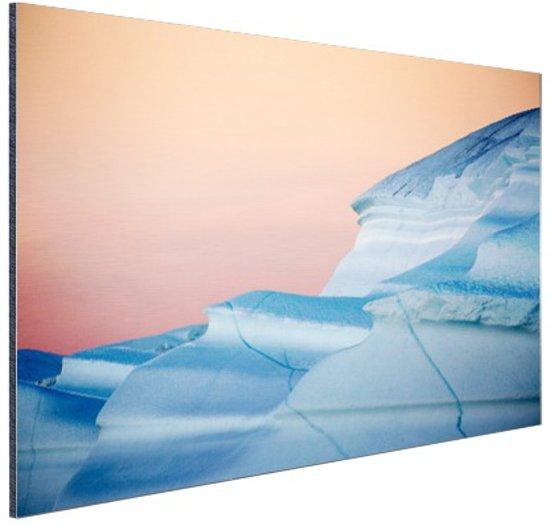 Zonsondergang Noordpool Aluminium 90x60 cm - Foto print op Aluminium (metaal wanddecoratie)