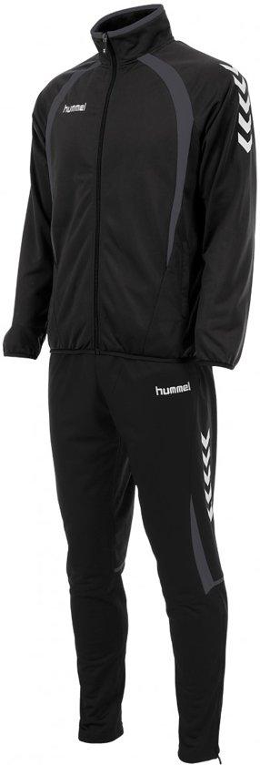 Hummel Team Poly  Trainingspak - Maat 164  - Unisex - zwart/grijs/wit