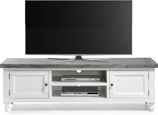Witte Tv Kast Met Vergrijsd Blad.Bol Com Furnihaus Tvmeubel Acacia Hout Grijs Wit