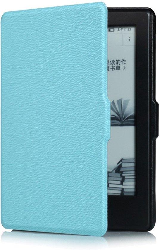 Shop4 - Kindle 8 Hoes - Book Cover Grain Licht Blauw