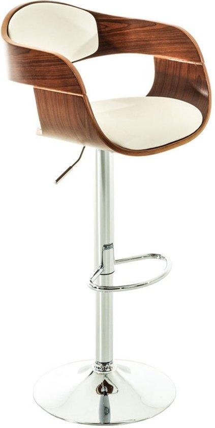 Clp Moderne barkruk KINGSTON - verchroomde kolomvoet, met armleuning, houten zitting met kunstleer - wit walnoot