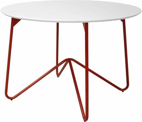 Star - Eetkamertafel - Rond 110 cm - Wit met rood onderstel