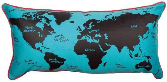 bol.com : Hiccups World Map - Sierkussen - 60x30 cm - Blauw/Zwart ...