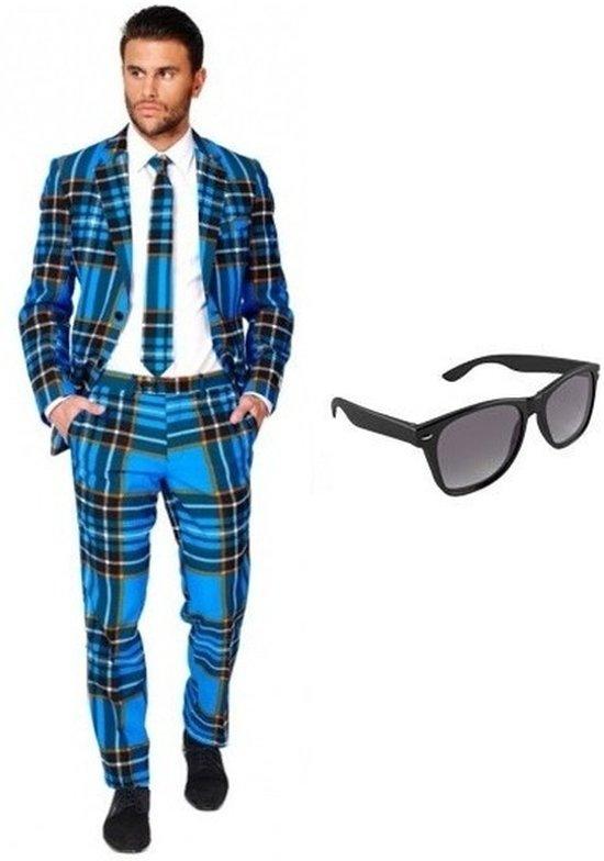 Heren Kostuum l Pak 50 Met Gratis Print Zonnebril Schotse Maat qapqxWwvdr
