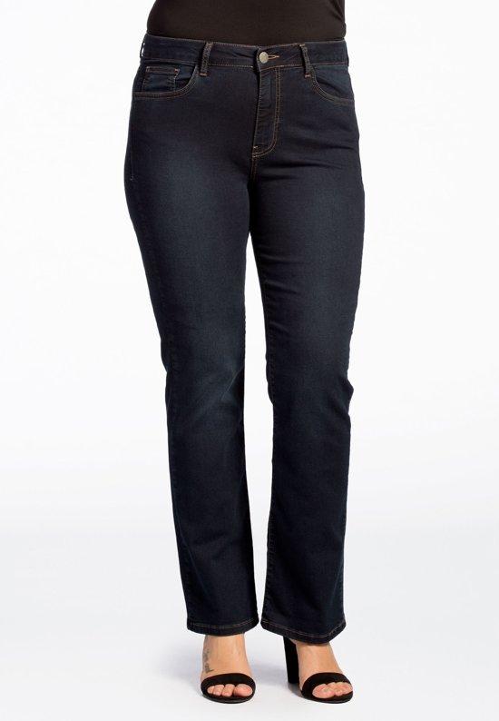 Yoek | Grote maten - dames jeans straight fit - donkerblauw
