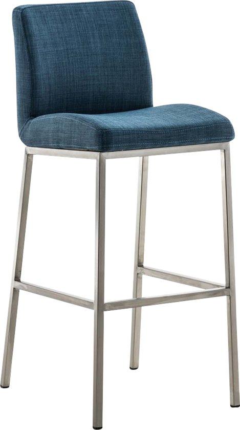 Clp Barkruk SANTOS E77 barstoel - vierpotige mat RVS tafelkruk, met rugleuning en voetsteun, stof - blauw