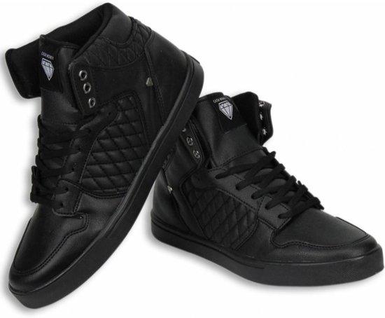 8f777ba88ce6c4 Cash Money Heren Schoenen - Heren Sneaker High - Jailor Full Black Pu -  Maten: