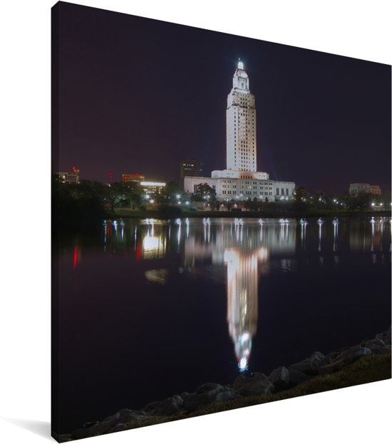 De Amerikaanse hoofdstad van Louisiana weerspiegelt in het water Canvas 20x20 cm - klein - Foto print op Canvas schilderij (Wanddecoratie woonkamer / slaapkamer)