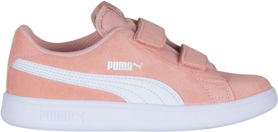 Puma Smash v2 L V Sneakers - Maat 30 - Meisjes - licht roze/wit