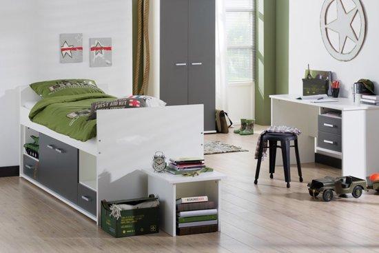 Kinderbed Met Extra Bed.Beter Bed Basic Kinderbed Jesse Halfhoog 90x200cm Wit Antraciet