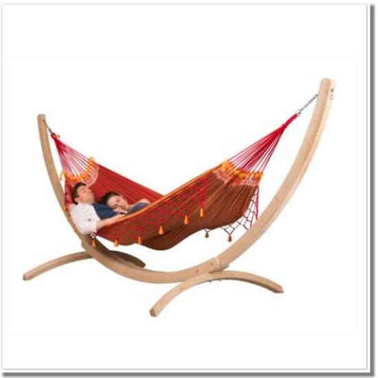 Hangmatset: 2-persoons hangmat COPA furia roja + Standaard voor 2-persoons hangmat CANOA