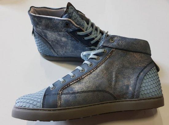 Yellow cab halfhoge blauwe leren sneakers vallen ruim - Maat 38